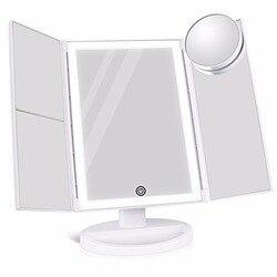 Портативный три складных стола 36 светодио дный s лампа зеркало для макияжа 180 градусов светодио дный светодиодные долговечные лампы Настоль...