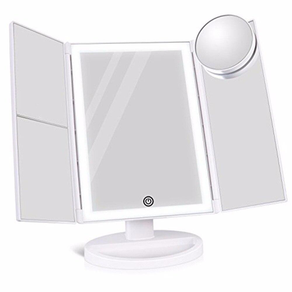 Portable Three Folding Table 36LEDs Lamp Makeup Mirror 180 Degree LED Long Lasting Bulbs Tabletop Desktop Cosmetic Makeup Mirror цены онлайн