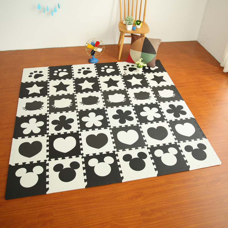 Marjinaa EVA 10pcs/pack Baby And Children Play Floor Mat Environme numbers/Mickey foam mat Black&White pad floor for baby games