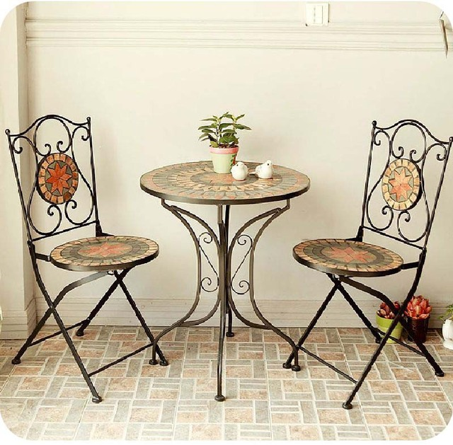 Stars Mosaic Parquet Mediterranean Style Black Wrought Iron Tables And Chairs For Outdoor Furniture Three Piece Suite