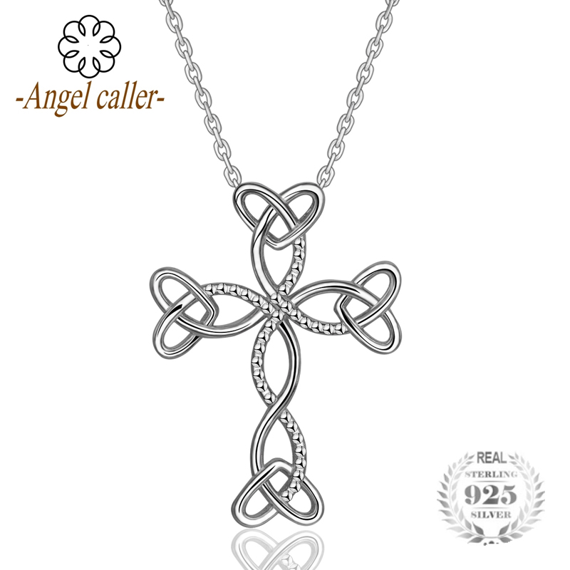 925 Sterling Silver Heart Cross Charm Pendant Necklace