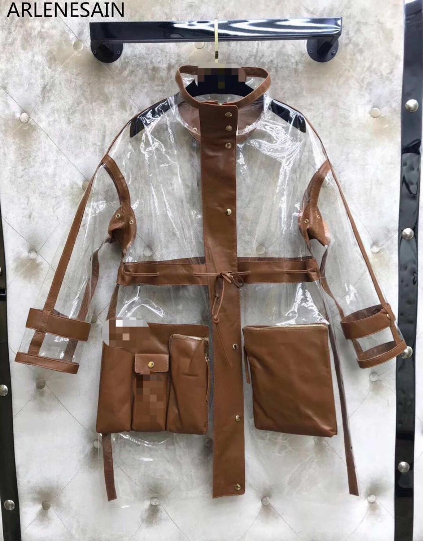 Arlenesain custom 2019 design gorgeous pvc transparent patchwork genuine leather fantastic women jacket