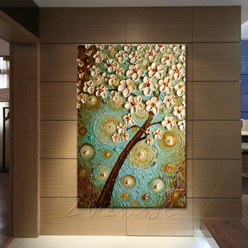 Canvas Painting Hand Painted palette knife 3D texture Flower Tree Wall Pictures For Living Room Christmas decorations for home10