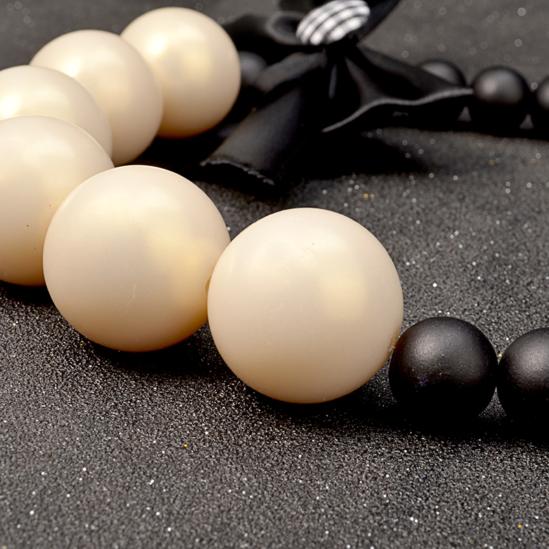 Chunky wood chain big simulated pearl jewelry ribbon flower necklace  4