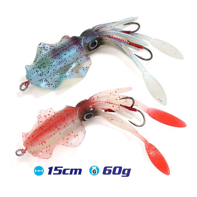 FSTK 15 cm/60g UV soft lure jigging leurre leurre peche souple mer turluttes pour calamars