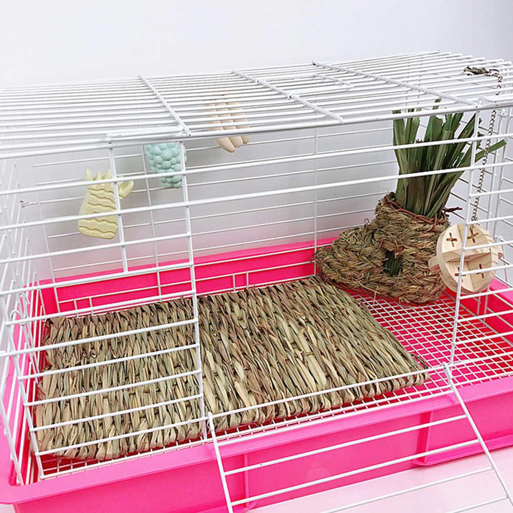 HOT! Cỏ Dệt Chuột Lang Thỏ Hamster Giường Thảm Rơm Tổ Lồng Thú Cưng Nhai Đồ Chơi Miếng Lót