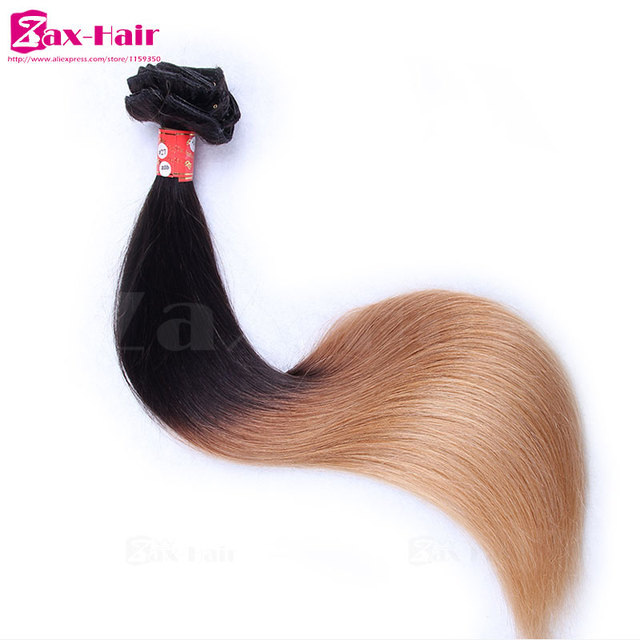 Ombre clip in human hair extensions straight human hair clip in extensions three tone 100% human hair african american clip in