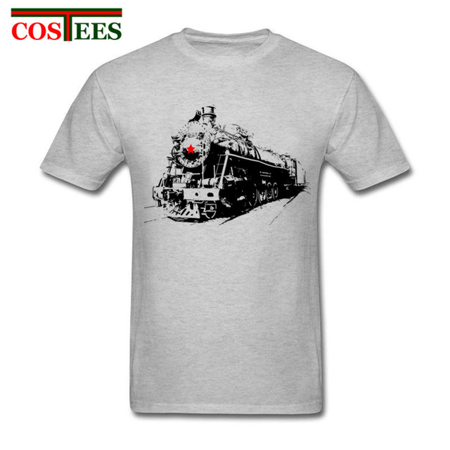 203827f5 Adult Male Soviet Steam Locomotive T-Shirt Graphic printing Short sleeve Tee  with Train Vintage