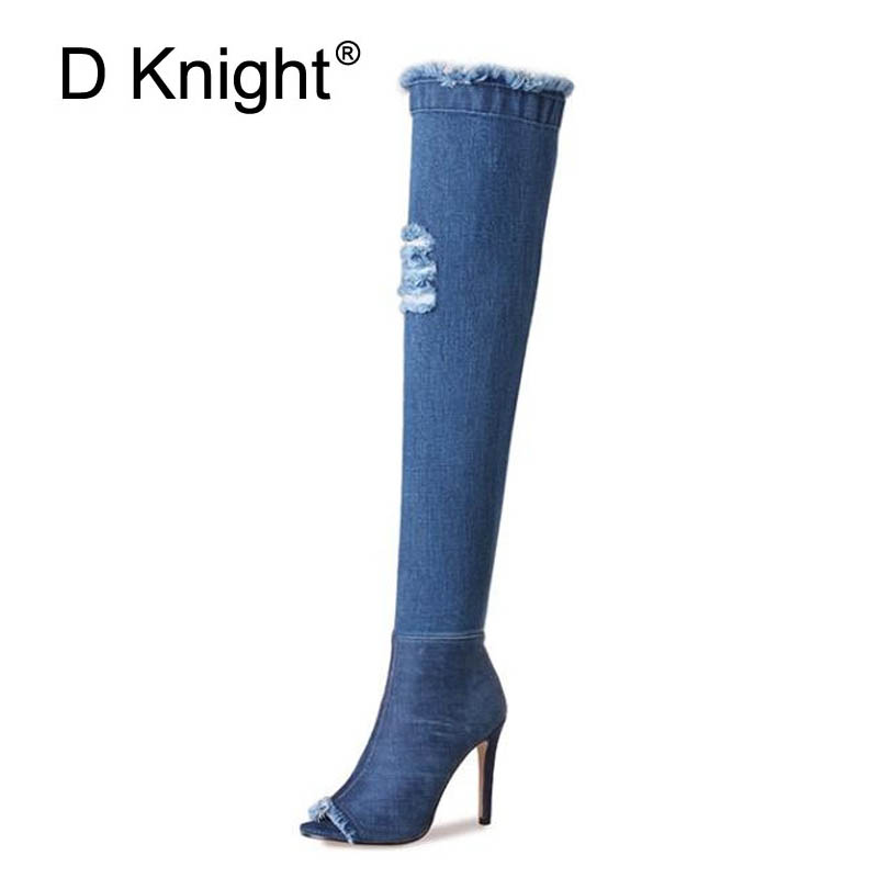 Fashion Women Over-the-Knee High Boots Slim Showing High Heels Spring Autumn Shoes Woman Peep Toe Casual Long Thigh High Boots