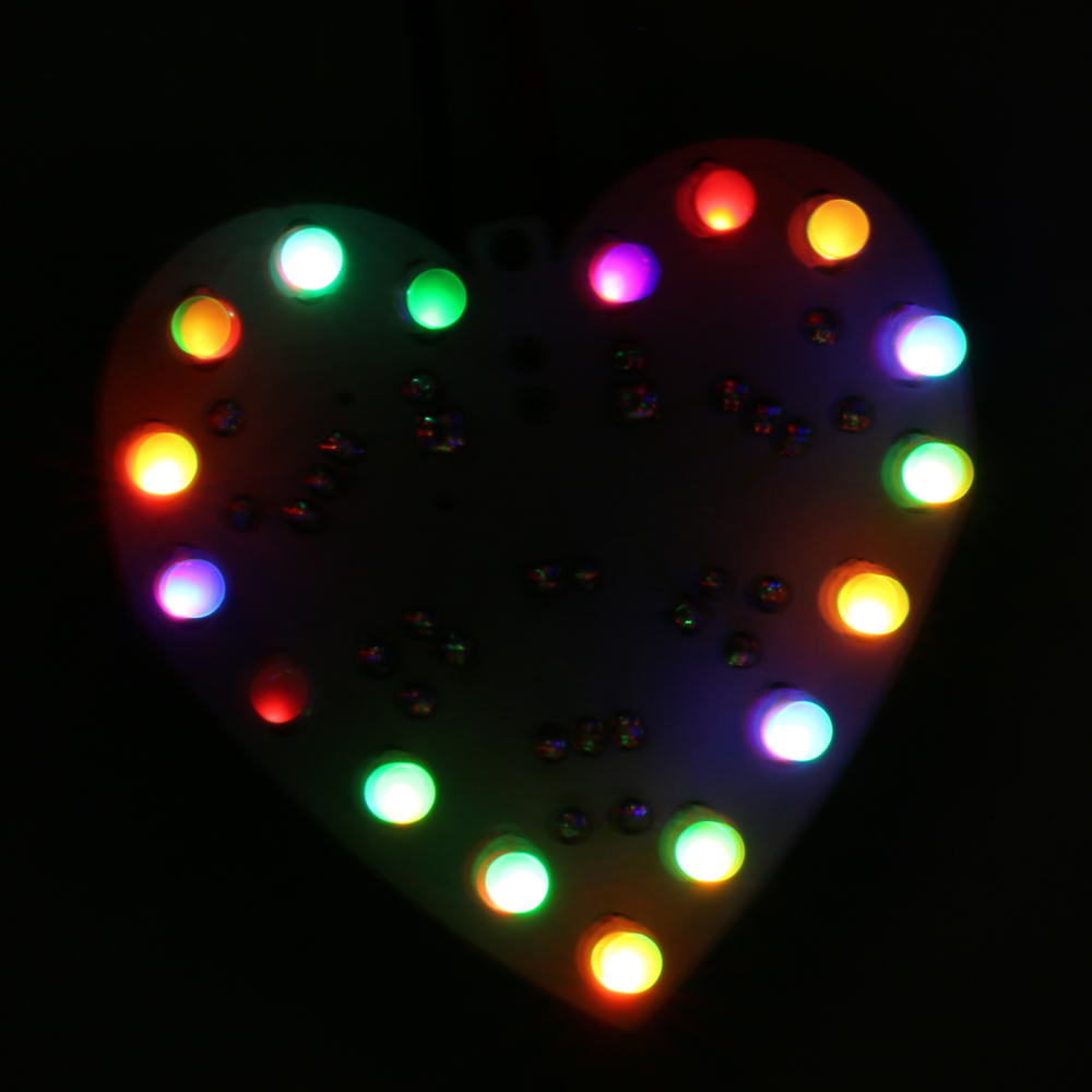 New Electronic Fun Colorful-RGB LED DIY KIT 18 LEDs Heart-Shaped Flashing Light  Birthday Gift