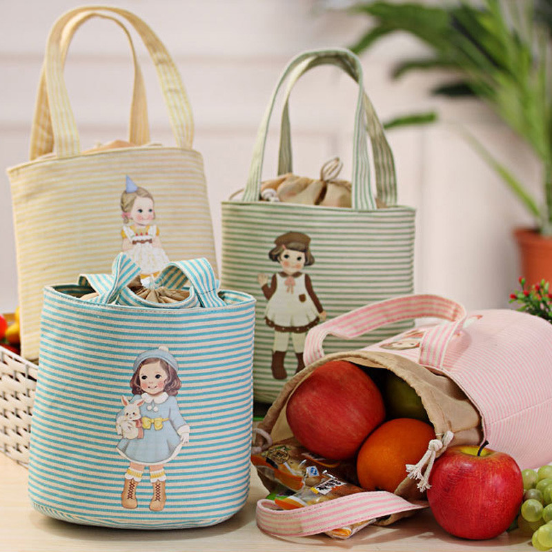 Cute Girls Printing Drawstring portable Lunch Bag Thermal Insulated Box Tote Cooler Bag Bento Pouch Lunch Storage Case