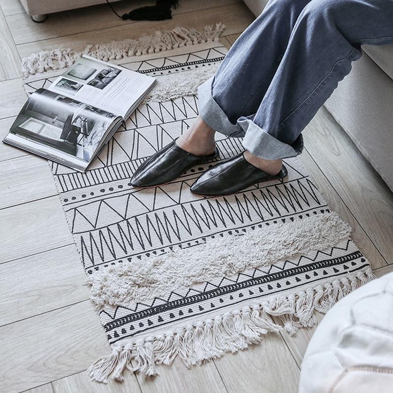Tapis fait main en coton glands rayures noires et blanches tapis de zone multifonction tapis Durable lavable antidérapant pour salon/chambre