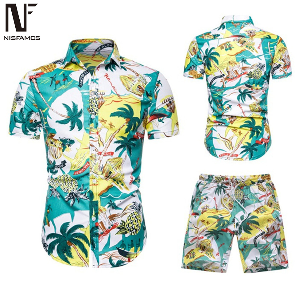 Summer Floral Beach Set Men Harajuku Tracksuit Suit High Streetwear Fitness Print Shorts + Swimwear Shirt Casual Mens Swimsuit