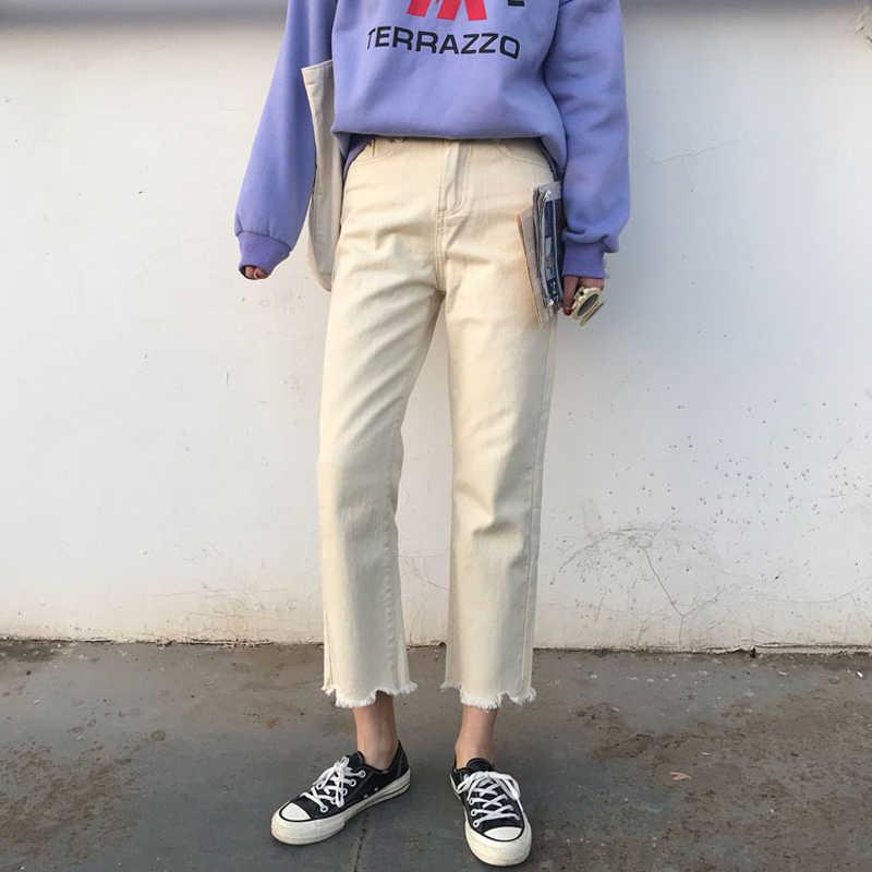 Mihoshop корейский ольджан Корея женская модная одежда новая Высокая талия Нерегулярные широкие прямые брюки джинсы брюки
