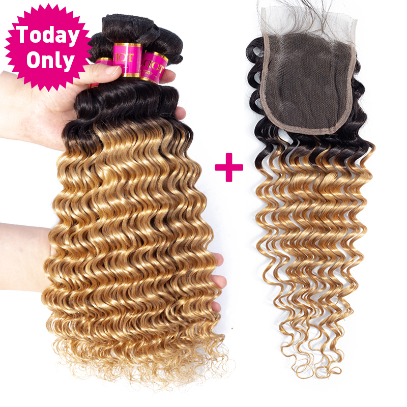 TODAY ONLY Malaysian Deep Wave Bundles With Closure Ombre Blonde Bundles With Closure Remy Human Hair Bundles With Closure
