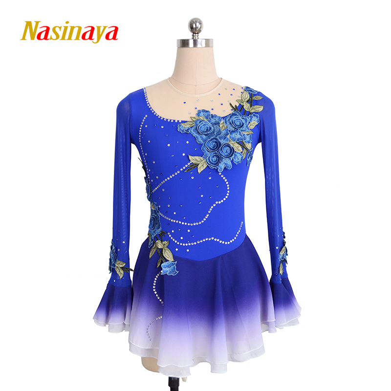 Customized Costume Ice Skating Figure Skating Dress Gymnastics Adult Child Girl Skirt Competition Sapphire Blue