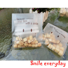 Plastic-Bags Biscuits Snack Cookie-Packaging Gift Smile Cute 140x140mm Baking Self-Adhesive