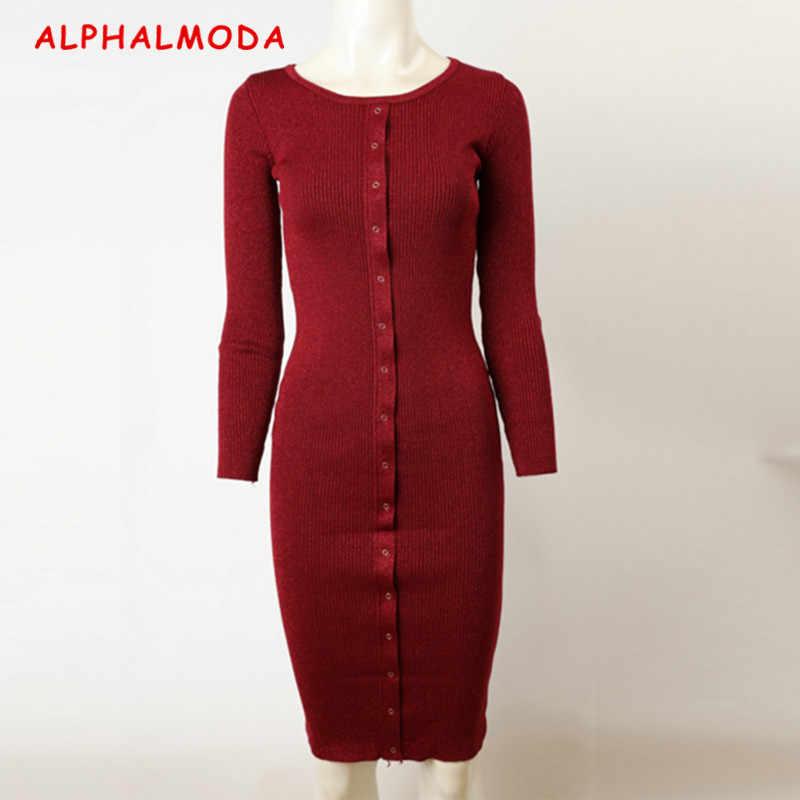 ALPHALMODA с длинными рукавами однобортные золотые нити вязание сверкающие туника платье для женщин тонкий свитер-туника низ Vestidos