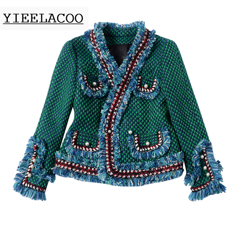 Green tweed jacket brushed trim pearl buckle Spring autumn winter women s jacket Slim ladies jacket