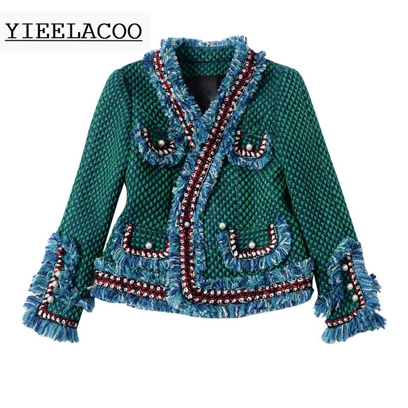 Tweed Perle Femme Pour Brossé Mince Femmes automne Boucle Printemps Garniture Vert hiver De Veste dqBI4wxFR