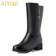 AIYUQI Women Knight boots 2019 new genuine leather female Martin boots, big size 35-43 thick warm wool winter boots Shiny snow цена и фото