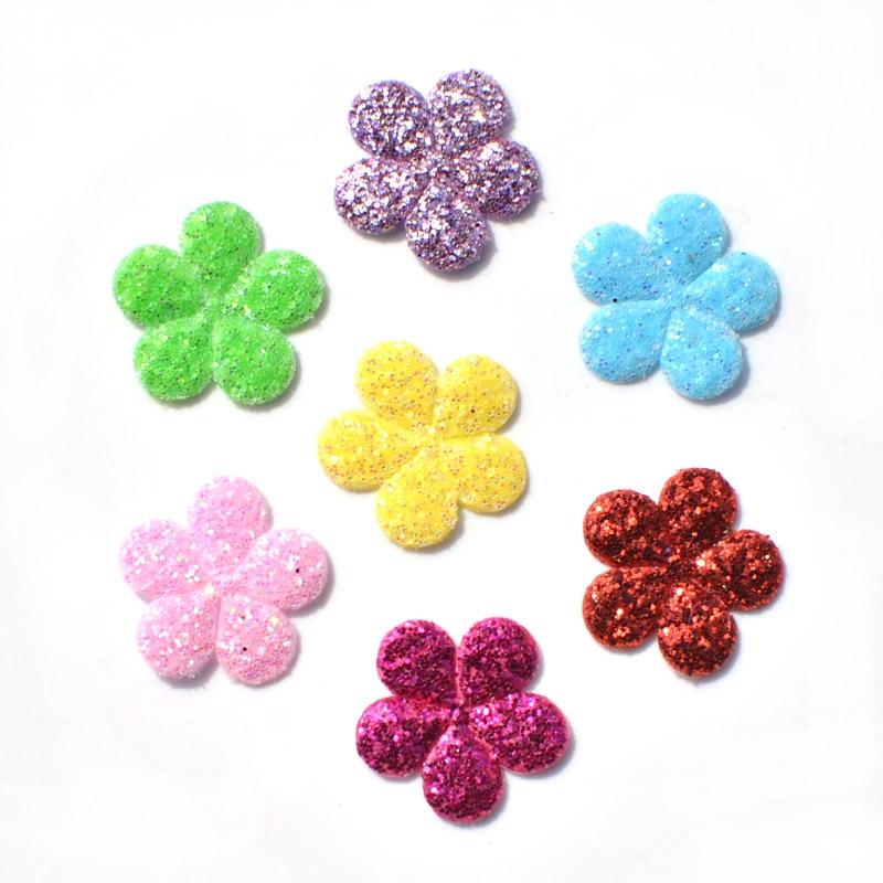 120 шт. разноцветные, блестящие ткани патчи цветок чувствовал аппликация для Craft/одежды DIY Скрапбукинг доступа K15