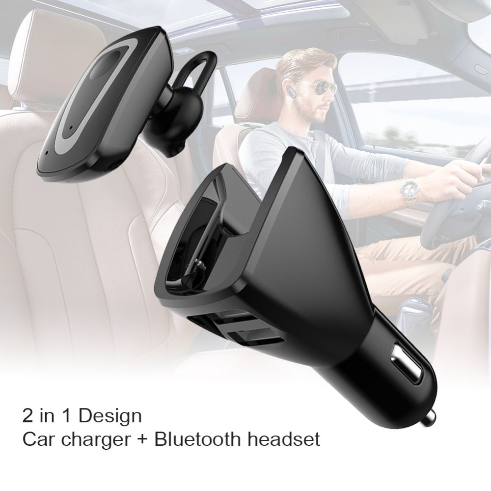 Wireless Bluetooth Earphone Car Charger Original Business Dual USB Dock Headset with Mic Noise canceling Phone Charger 2 in 1 aaliyah 2in1 mini bluetooth headphones usb car charger dock wireless car headset bluetooth earphone for iphone 7 6s android