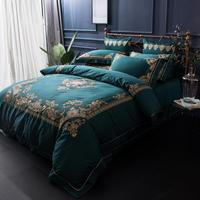 1000TC luxury bedding set queen size palace egypt cotton bed set embroidery home textile king bed sheet blue bedding set adult