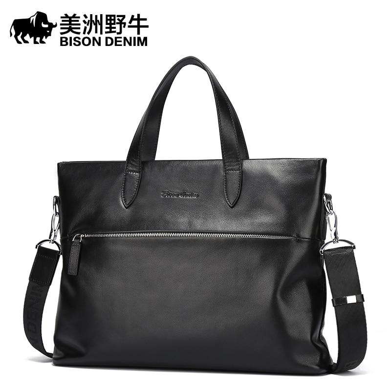 BISON DENIM Brand Handbag New Men Shoulder Bags Leather Genuine Briefcase Business Travel Messenger Bag Men's Cowhide Tote Bag