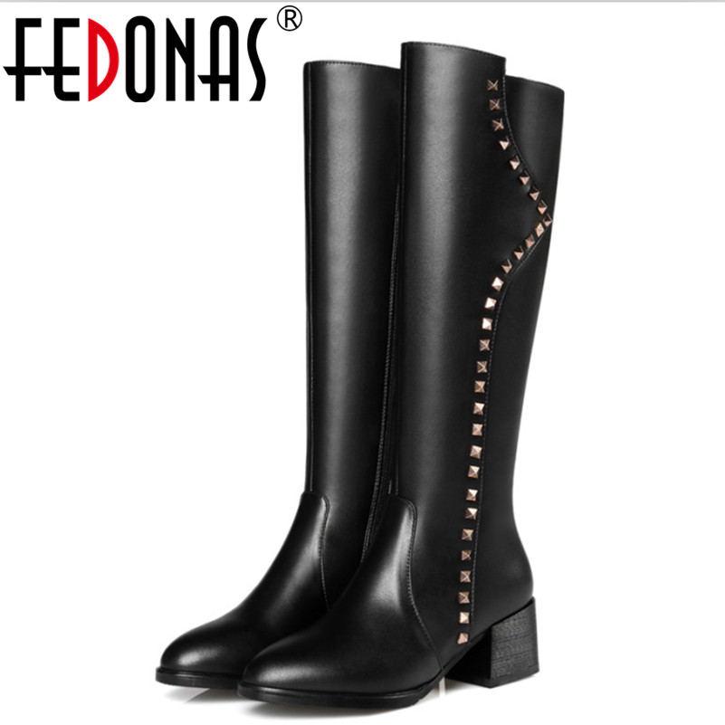 FEDONAS New Zipper Design Genuine Leather Square Heel Boots Women Knee High Boots Shoes Woman Rivets Punk Long Motorcycle BootsFEDONAS New Zipper Design Genuine Leather Square Heel Boots Women Knee High Boots Shoes Woman Rivets Punk Long Motorcycle Boots