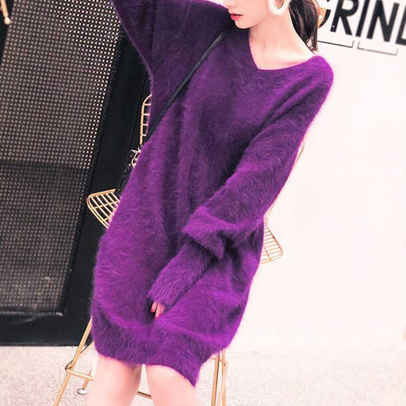 2019 Nova Top Quality 100% Real Mink Cashmere Sweater Dress Mulheres Pulôveres de Cashmere Camisola Sexy Lady wsr574