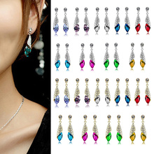 1 Pair New Shining Crystal Rhinestone Teardrop Silver/Gold Dangle Earrings 2cm FJ0417