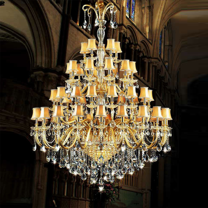 Modern Crystal Chandeliers For Penthouse Floor Gold