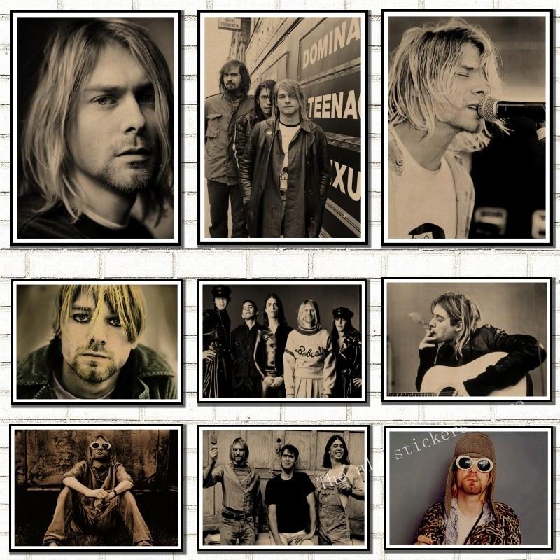 Kurt Cobain Nirvana Frontman Rock Poster Kraft Paper Cafe Bar Poster Retro Poster Wall Sticker, room decor /907