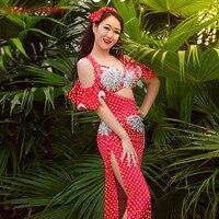 Handmade Diamond Beaded Belly Dance Performance Set Costume Adult Female Oriental Dance Show Robe+bra+Underpants+Headdress