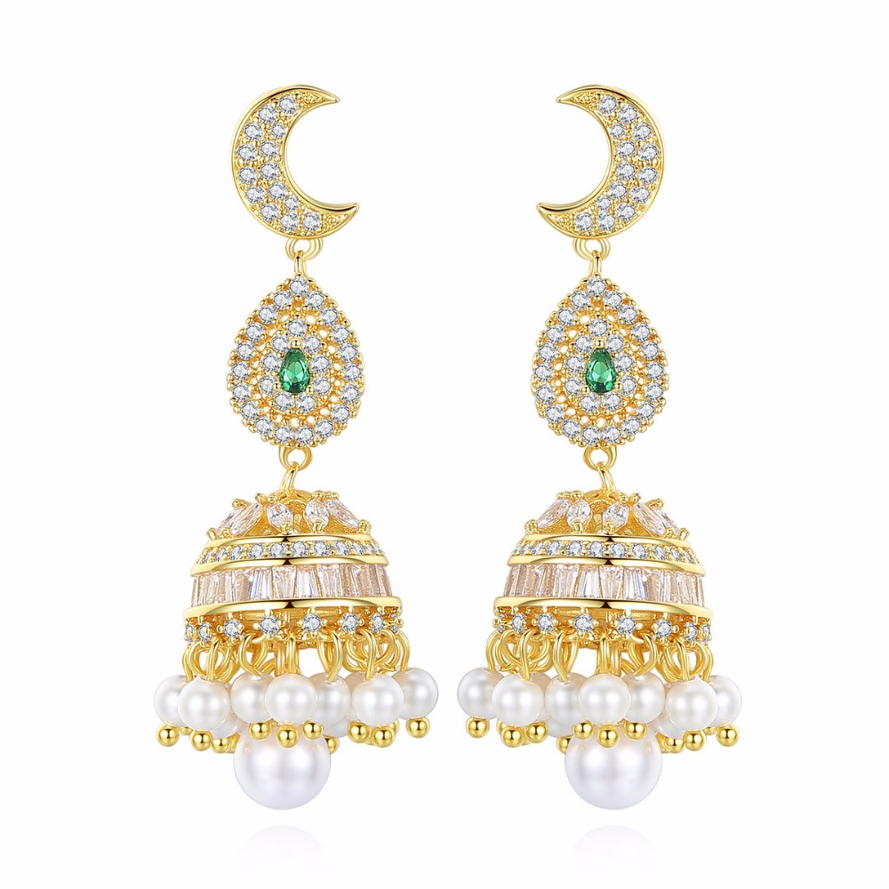 India Bollywood Jhumka Earrings, Artificial pearls Golden Plated, Peacock Jhumki Chandelier Earrings India bride Jewellery