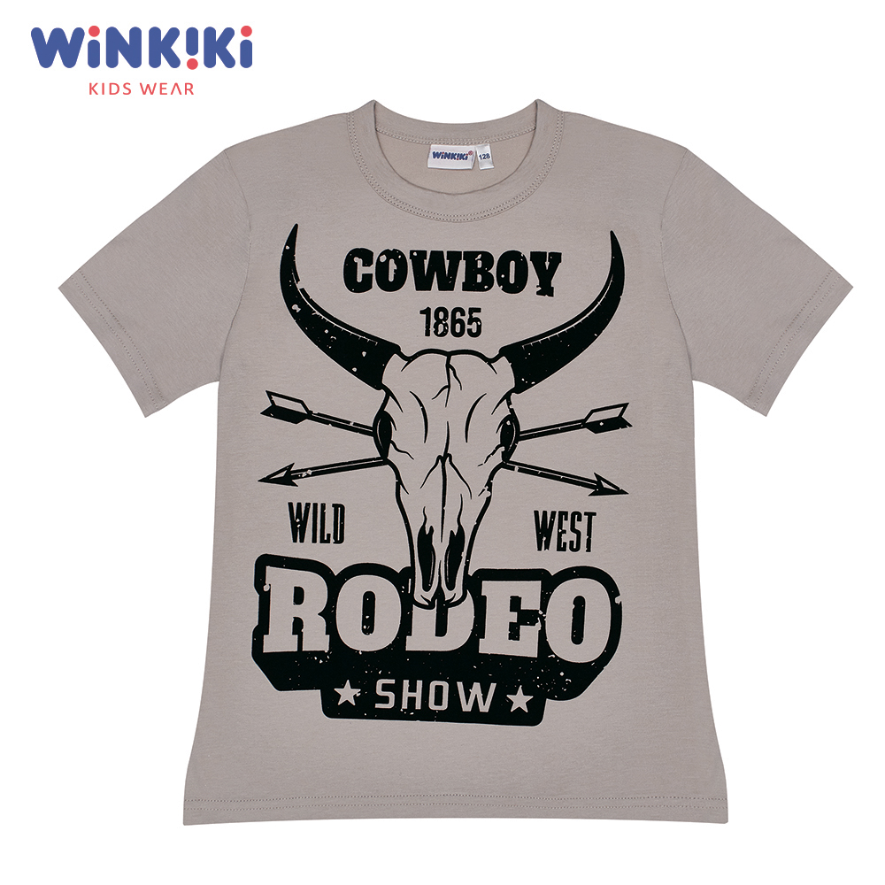 T-Shirts Winkiki WJB91387 T-shirt kids children clothing Cotton Gray Boys Casual