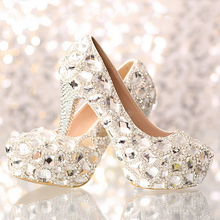 Bridal shoes Rhinestone Match wedding Outfit High heel Dress Shoes Silver 10cm Heel Party Nightclub Prom Pumps Lady Woman Shoes
