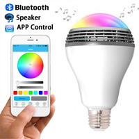 2017 New Design LED Light Bulb RGBW Smart Wireless Bluetooth Speaker Music Player Lamp Spotlight Via
