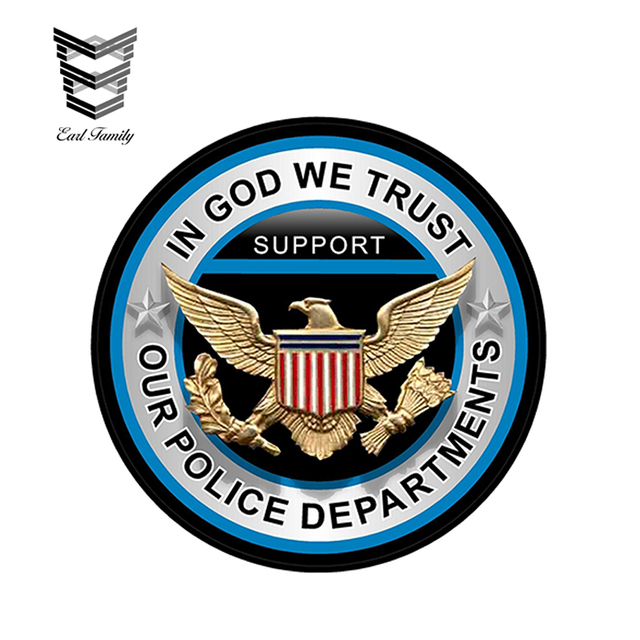 US $1 53 21% OFF|EARLFAMILY 12cm x 12cm In God We Trust Support Our Police  Department Decal Car Window Truck Door Bumper Decals Car Stickers-in Car