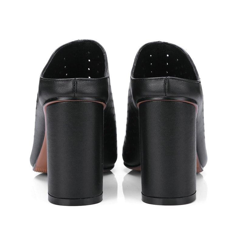 Véritable jaune Femme Robe Orteil Cuir Noir blanc D'été Pompes Chaussures Slingbacks Hauts Poined Femmes Talons rrwaq6g