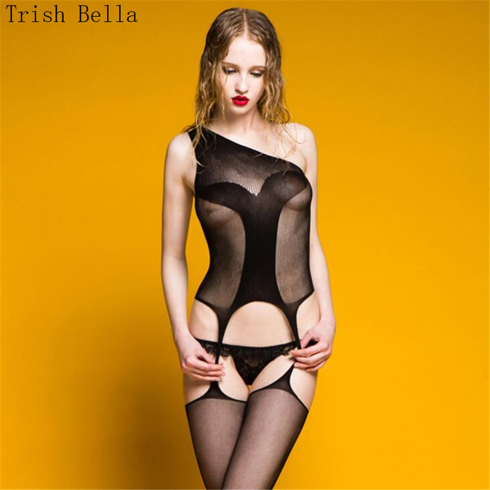 transparent Camisole Hollow out Big grid Net clothing porno fishnet lingerie bodystocking body sexy costumes catsuit open crotch in Teddies Bodysuits from Novelty Special Use