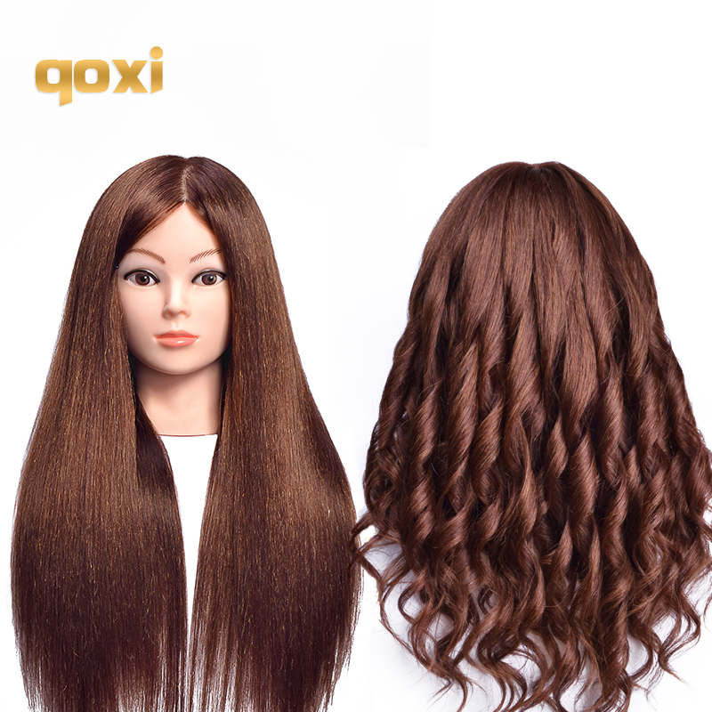 Qoxi Professional Training Heads With 80% Real Human Hairs Can Be Curled Practice Hairdressing Mannequin Dolls Styling Maniqui