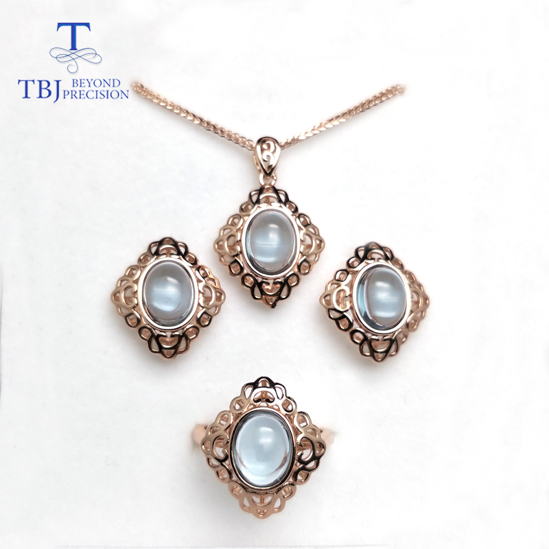TBJ,Natural light sky blue topaz jewelry set pendant ring earring 925 sterling silver fine jewelry for women party birthday gift