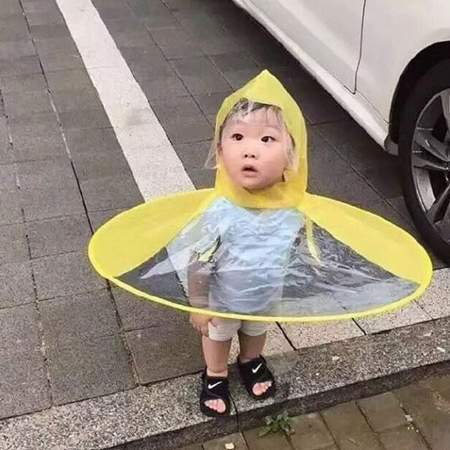 Creative UFO Children Rain Hat Umbrella Non Handle Rain Cape Poncho For Kids  and Students Raincoat 2a704ffa9de