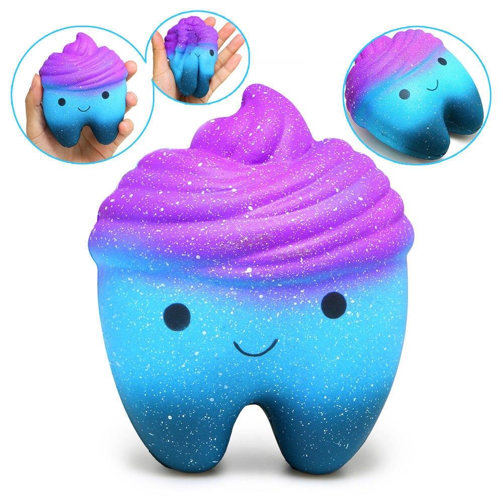 Squishy Slow Rising Jumbo kawaii Cartoon Teeth Gags Practical Jokes Toys Squish Antistress Squishies Toy Kids release stress