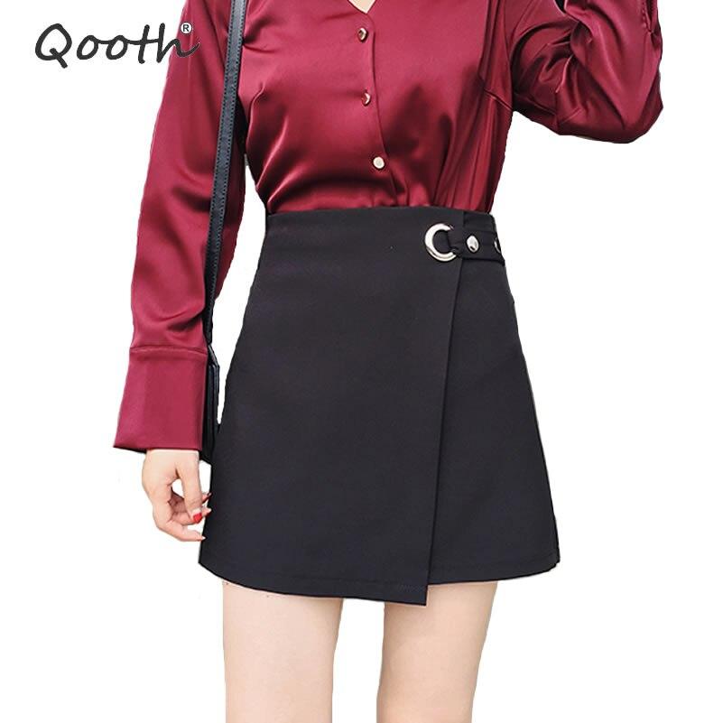 Qooth Skirts Women Harajuku Girly Skirts Asymmetrical Black Skirt Saia School Student Faldas 2018 Autumn New Short Skirt QH1464