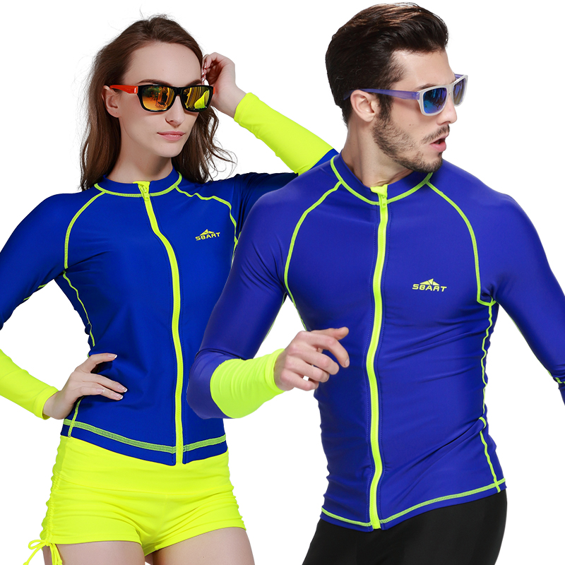 Sbart Anti Uv Long Sleeve Rash Guard Shirts With Zipper