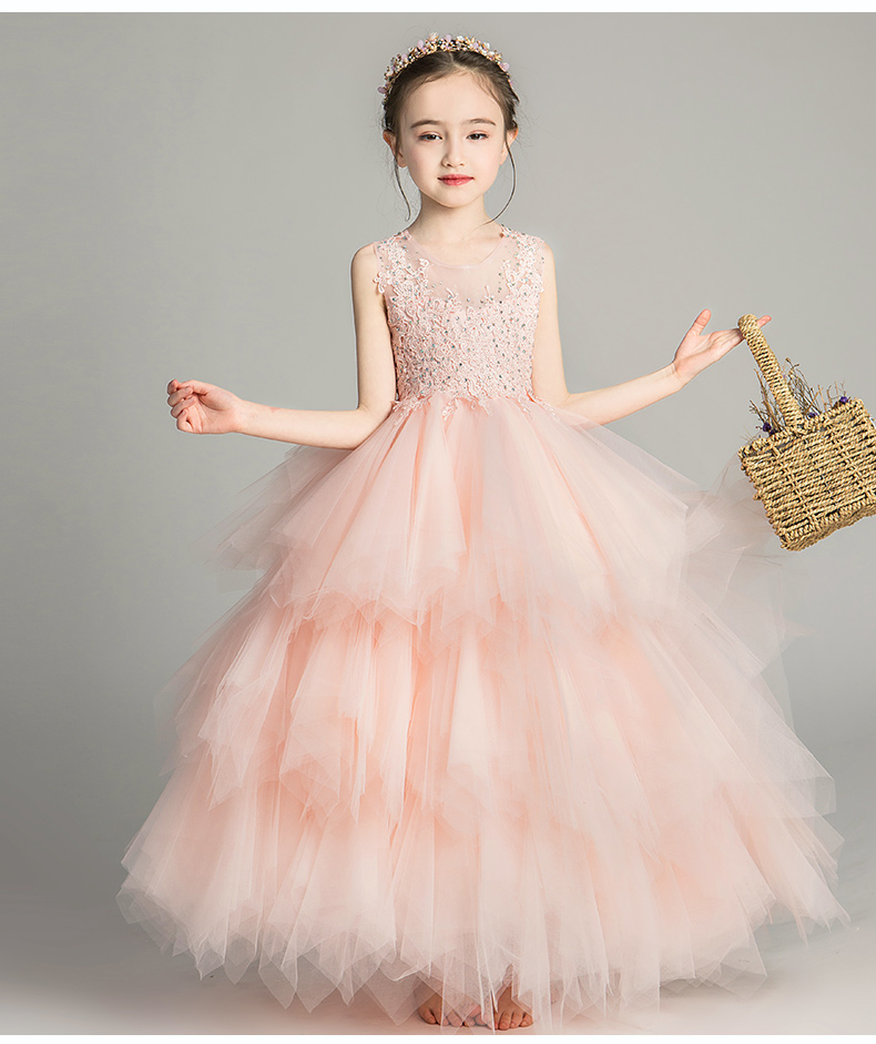 Glitz Long Formal Flower Girl Dresses for Weddings Kids Toddler Layered Lace Birthday Party Dress Princess Christmas GownsGlitz Long Formal Flower Girl Dresses for Weddings Kids Toddler Layered Lace Birthday Party Dress Princess Christmas Gowns
