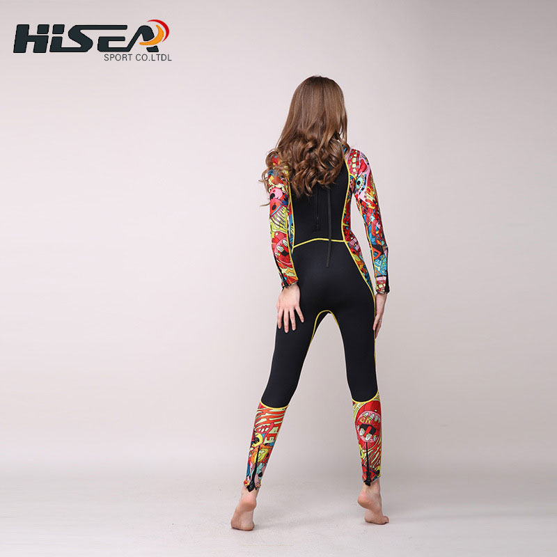 Women's Full Wetsuit 3mm Premium Neoprene Floral Printed Long Sleeve Wetsuits for Diving Snorkeling Scuba Surf Black XS to XXL women s wetsuit 3mm premium neoprene diving suit full length snorkeling wetsuits full body